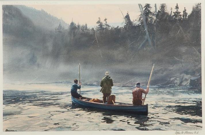 blue boat on the st. anne by ogden minton pleissner