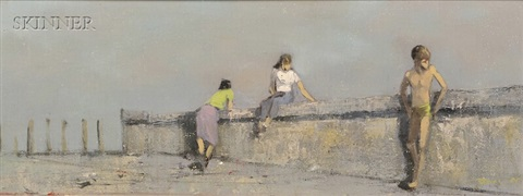 three figures at a sea wall by robert r bliss