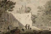 townspeople and cattle near a ruin by cornelis van noorde