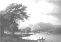 an extensive view of loch fyne with numerous boats and inveraray castle beyond by jane nasmyth