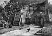 bäuerin im hühnerhof by ferdinand ernst lintz