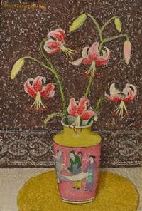 lilies in japanese vase by emma fordyce macrae