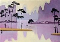 紫色漓江 板面 油画 by tu ke