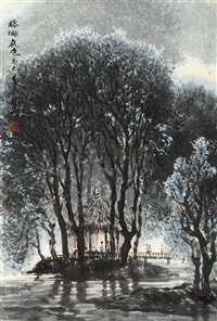 榕湖夜色 (landscape) by huang runhua
