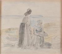 deux bretonnes tamisant du grain by eugène boudin