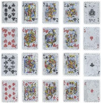 pixcell-trump#4: (royal-straight-flush-diamondspades); (royal-straight-flush-hearts); (royal-straight-flush-clubs); (royal-straight-flush-diamonds) (4 works) by kohei nawa
