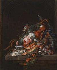 stillleben mit austern, trauben, kirschen, rosen, einem teller und einem salzstreuer by cornelis de heem and david cornelisz de heem