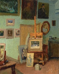 interior of the artist's studio by gustave f. goetsch
