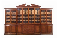 a george iii style mahogany large breakfront secretaire bookcase by anonymous (20)
