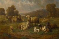 schafherde in vorgebirgslandschaft by louis (ludwig) reinhardt