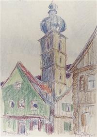 blick auf den turm der pfarrkirche st. martin und häuser in forchheim (from sketchbook) by fritz bleyl
