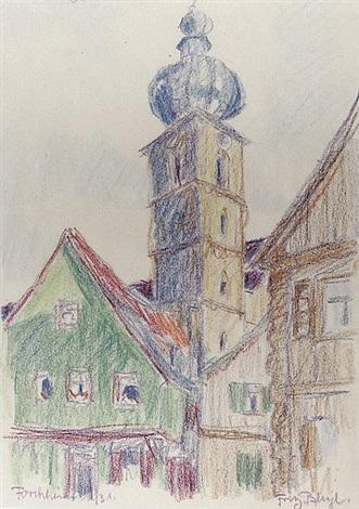 blick auf den turm der pfarrkirche st martin und häuser in forchheim from sketchbook by fritz bleyl