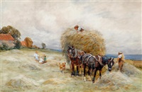 haymaking near the coast by john atkinson