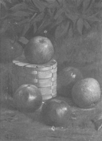 still life of apples and a basket by george f. harris