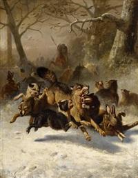 große wolfsjagd im winter by bernard de gempt