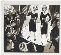 illustration d'une scène de cabaret : les jumelles sur scène by jacques de loustal