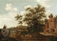 flußlandschaft mit großer eiche und zwei rastenden wanderern vor fernem wasserfall, rechts ruinöses gebäude by pieter cosyn