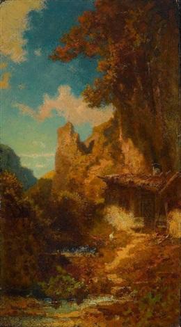 einsiedelei in bergschlucht by carl spitzweg