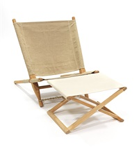 saw chair sedia smontabile con poggiapiedi (2 works) by ole gjerlov-knudsen