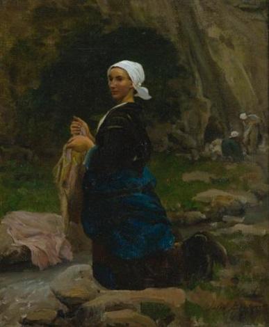 brittany washerwoman by jules breton