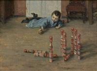 portrait de robert, fils du peintre, jouant aux quilles by jules henri veron-fare
