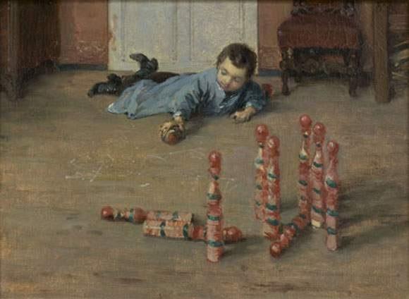 portrait de robert fils du peintre jouant aux quilles by jules henri veron fare