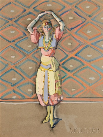 dancer posing in festive costume by jane peterson