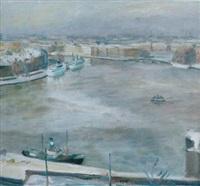 stockholmsvinter - utsikt från fjällgatan by georg lodstrom