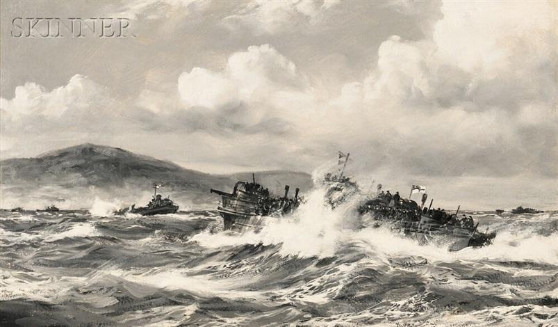 navy landing supplies at anzio by montague dawson