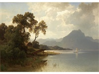 expansive landscape with distant mountains and figures near lake by carl jungheim