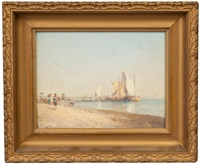 pier & beach scene by hermann herzog