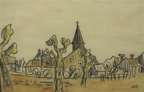 landscape with church and village buildings france by sir kyffin williams