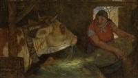 alte bäuerin beim füttern des ochsen (+ sketch, verso) by adolf oberlander