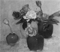 still life with flowers in vases by georges hogerwaard
