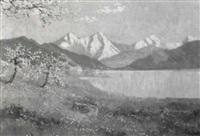 frühlingslandschaft mit kleinem wald by ludwig von andok