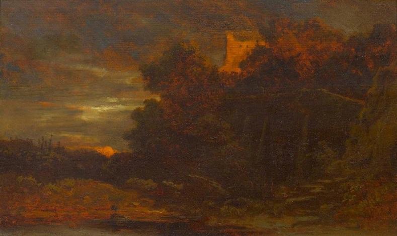 abendliche landschaft mit burg by carl spitzweg