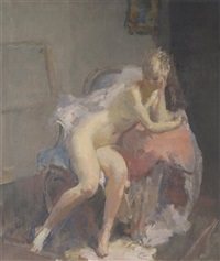 seated nude by a mirror by walter ernest webster
