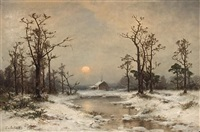 snow scene with a winter cabin by carl von perbandt