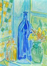 still-life with bottles and vase by christine swane