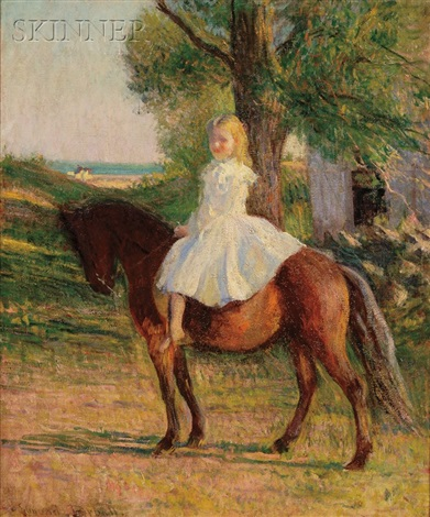 girl with horse by edmund charles tarbell