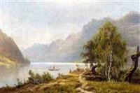 sommerliche fjordlandschaft mit dampfer by magnus thulstrup bagge