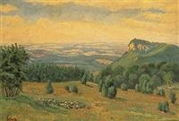 schwäbische landschaft; blick von der höhe auf kirchdorf by carl faber