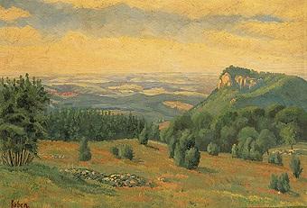 schwäbische landschaft blick von der höhe auf kirchdorf by carl faber