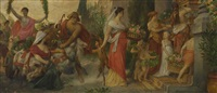 festprozession mit bacchus in einem von ziegen gezogenen wagen by albert freytag