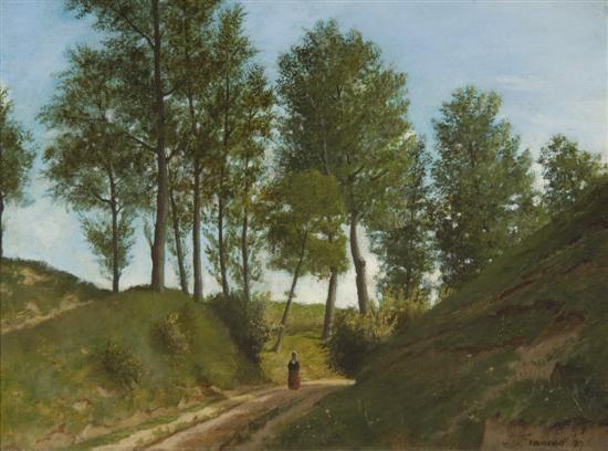 Figure female in landscape by François Louis Français on artnet