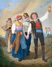 ein junges paar in tracht wird von musikanten begleitet by eduard ritter
