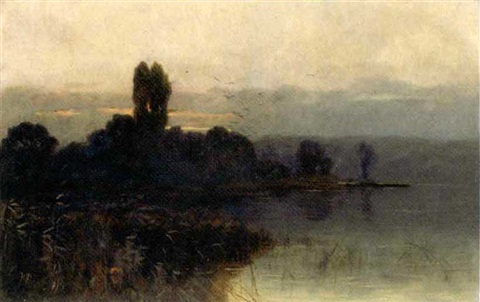 dusk over a lake by sidney pike