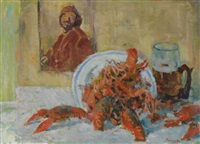 still life of a lobster and tankard of beer by grigori stiepanovitch vasietski
