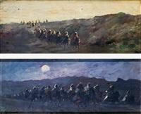 moros a caballo (pair) by emilio alvarez díaz