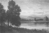 river landscape at sunset by edmund elisha case
